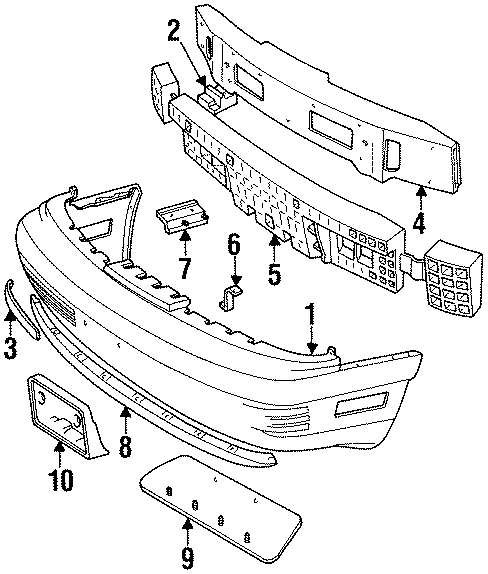 Ford Thunderbird Bumper cover. 1989-93 W/O SUPER COUPE