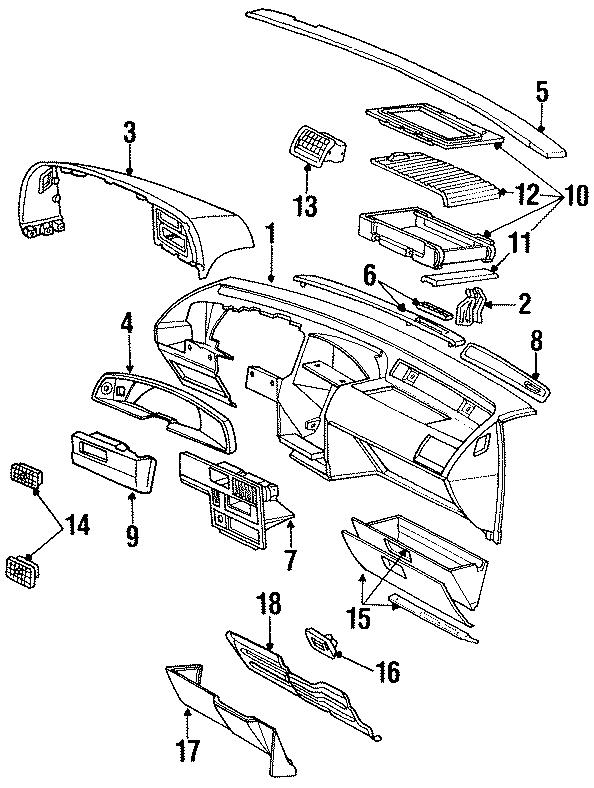 1992 Ford Thunderbird Clmn cover. Column cover. (Lower