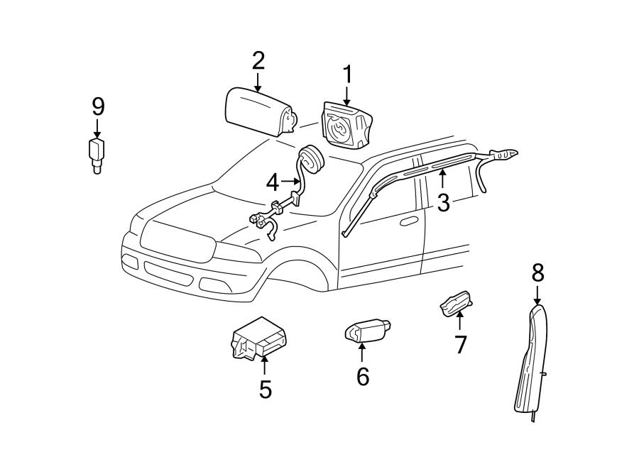 Ford Freestyle Air Bag Impact Sensor (Front). Side, Head