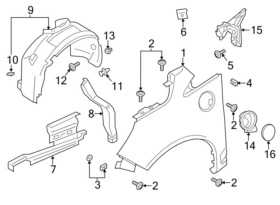 2016 Ford C-Max Liner. Fender. Splash. Shield. ENERGI