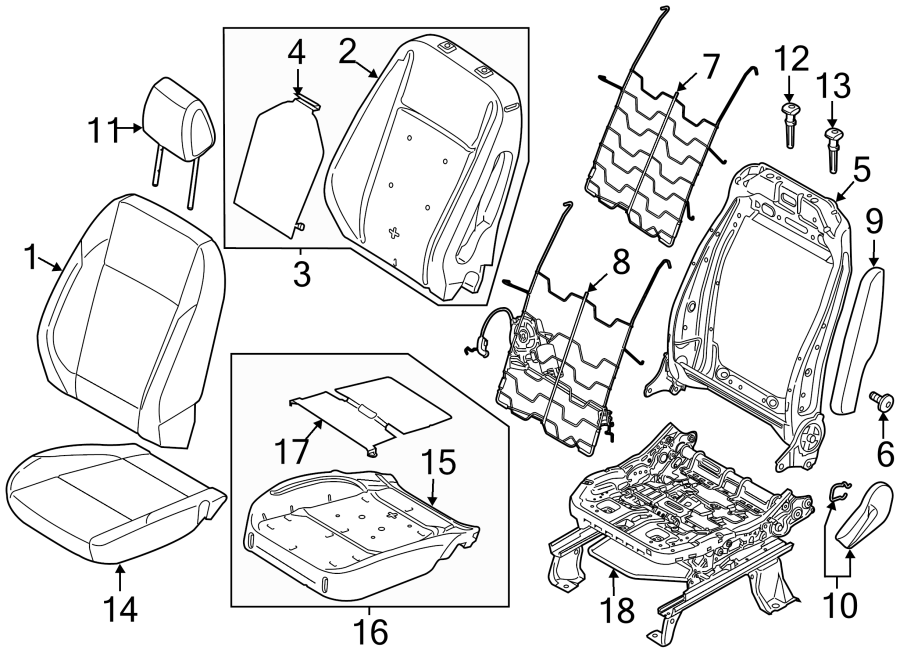 2016 Ford C-Max Headrest. Torino leather SE, SEL, stone