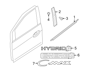 2015 Ford CMax Nut Door Trim Panel Inside (Rear) CREW CAB Nut SUPER CAB WO RS