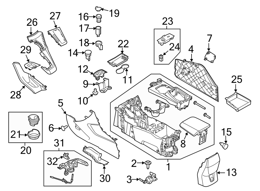 Ford Focus 12 volt accessory power outlet (front). Line