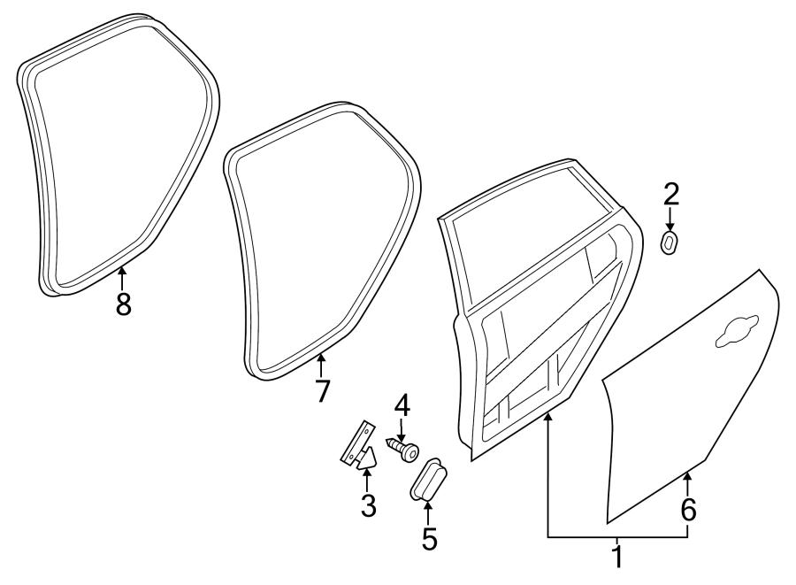 2012 Ford Focus Door Seal. Body, Strip, REAR