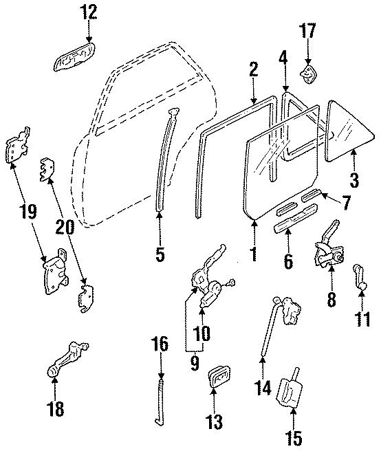 Ford Escort Handle, inside. 2 DOOR. 4 DOOR. LOCK, GLASS