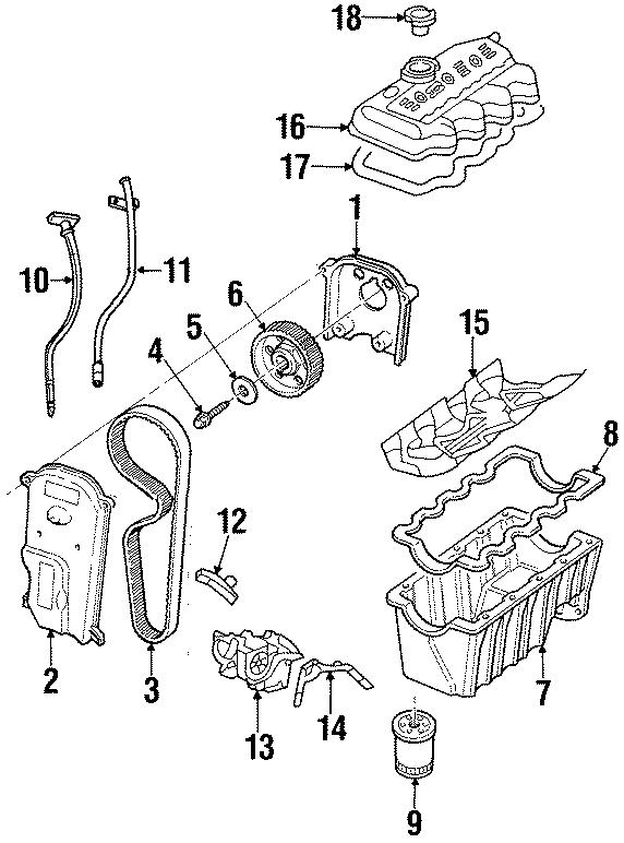1999 Ford Escort Engine Timing Cover. 2.0L SOHC. Inner