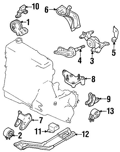 Ford Escort Insulator. Manual trans, rebound. Engine