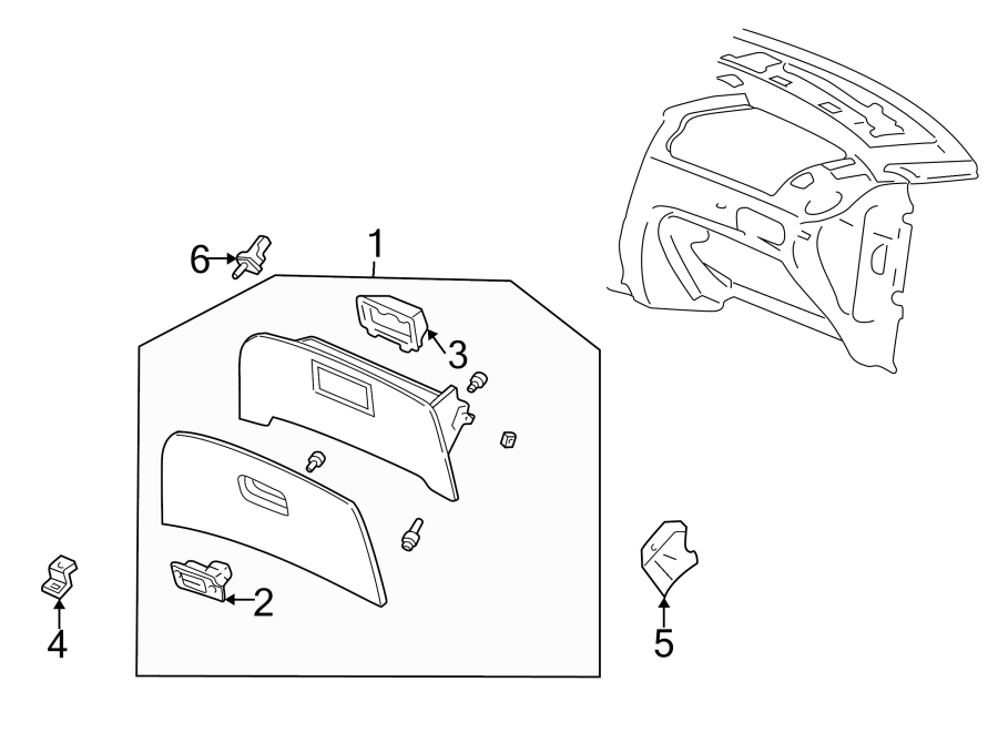 Ford Taurus Latch cover. Included with: Glove box assembly