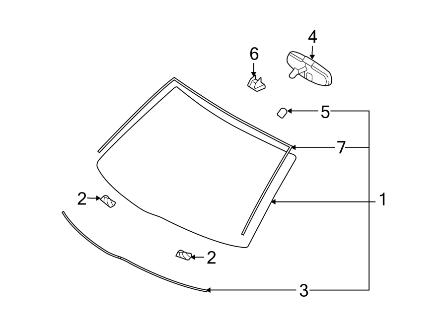 Ford Taurus Interior Rear View Mirror. Manual, Front