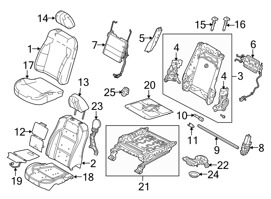 2012 Ford Headrest. PAD. Guide. Front cap. SEAT