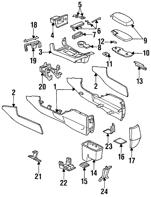 Ford Taurus Compartment. (Rear). 1993-95. CONSOLE, CENTER