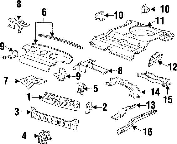 Ford Taurus Strainer bracket. SEDAN. FLOOR, BODY, REAR