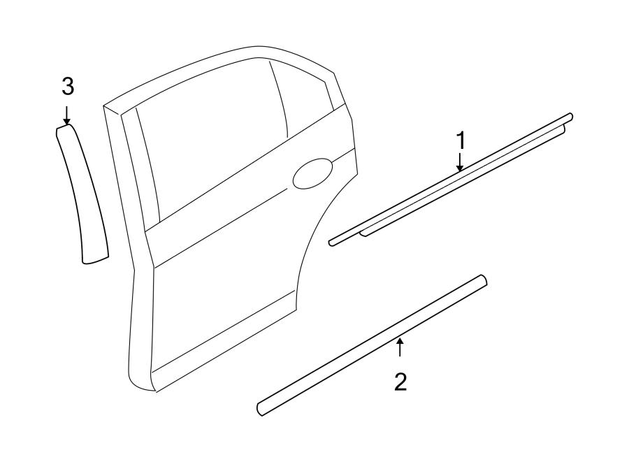 Ford Fusion Molding. APPLIQUE. Rear, DOOR, TRIM