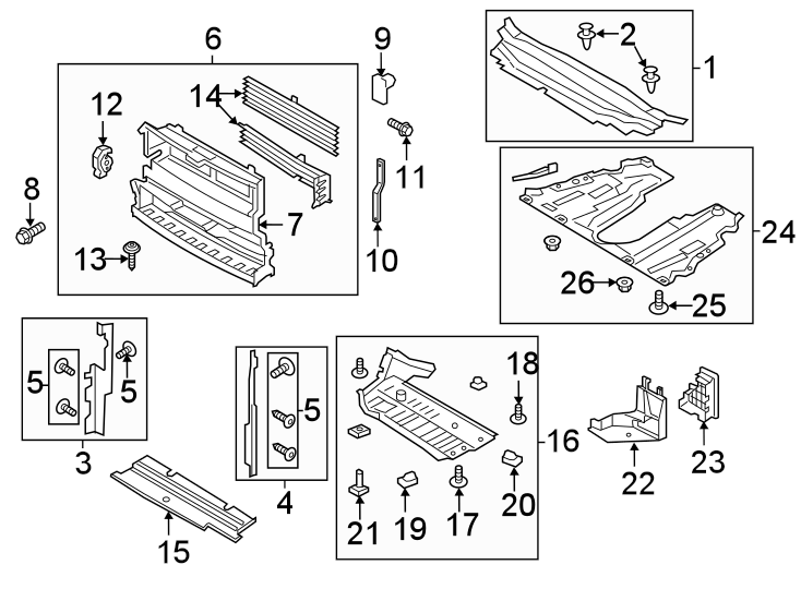 Ford Fusion Radiator Support Splash Shield (Lower). LITER