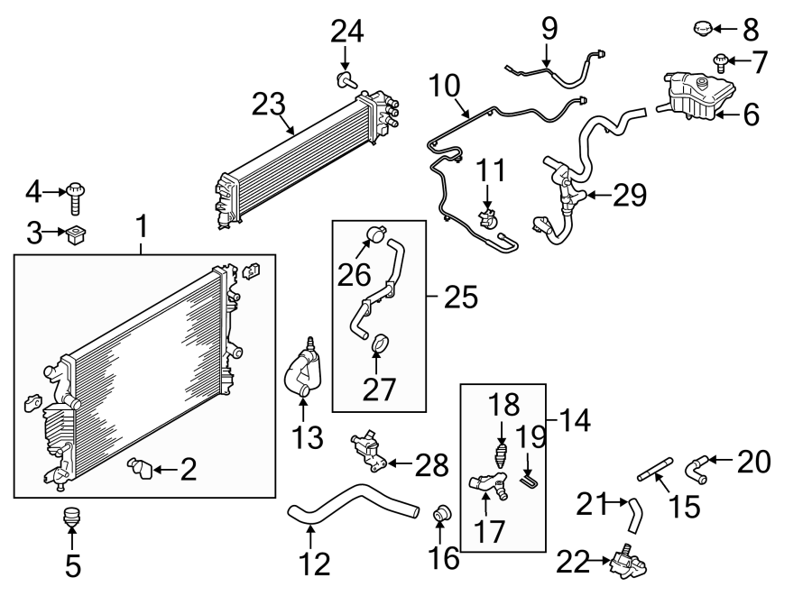 Ford Fusion Radiator Drain Plug. LITER, COMPONENTS, Main