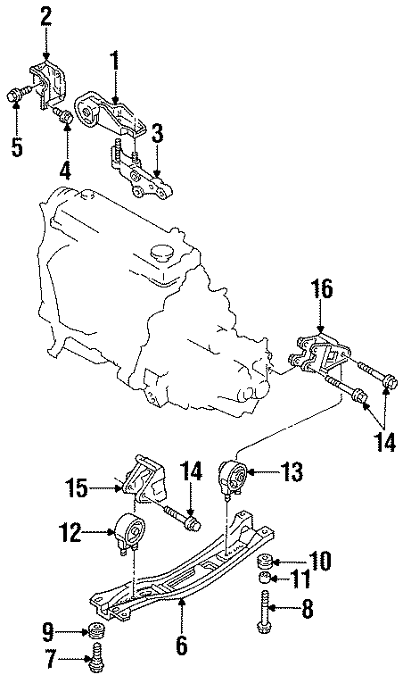 Ford Aspire Mounting Bracket. (Rear). Front; Rear; Manual