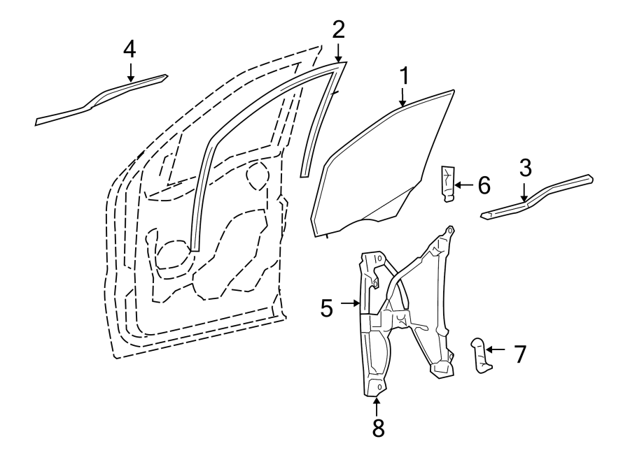 2007 Ford F-150 Window Regulator. Cab, Manual, Regular