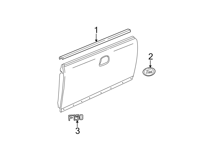 Ford F-150 Tailgate Molding (Upper). FLARESIDE, TAIL GATE