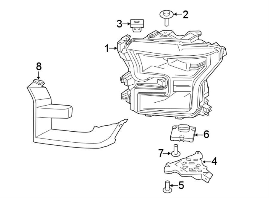 Ford F-150 Headlight. F150; Right; LED Headlamp; Level 3