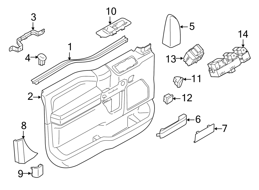 Ford F-150 Door Interior Trim Panel Bracket (Front