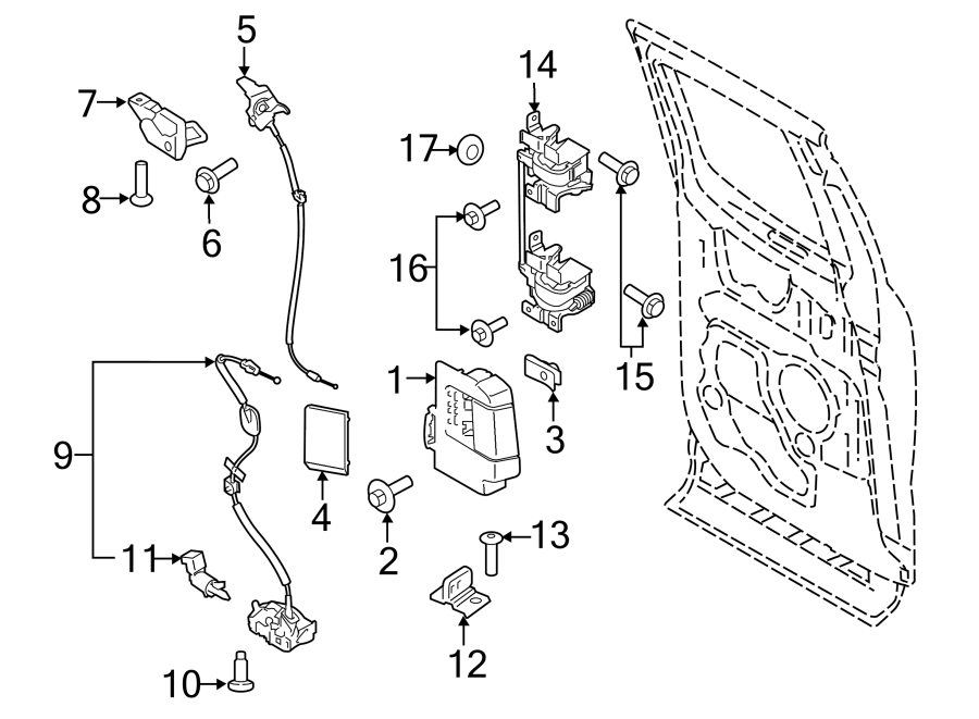 2015 Ford F-150 Bolt. Striker. SCrew. Door. (Upper, Lower
