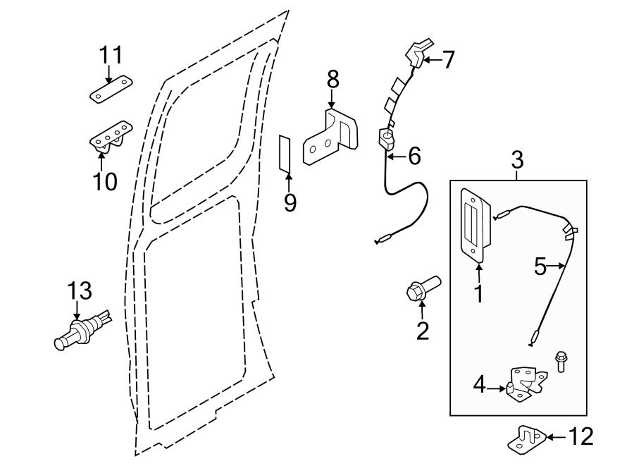 Ford E-250 Door Latch Assembly. HINGED, REAR DOOR. Lock