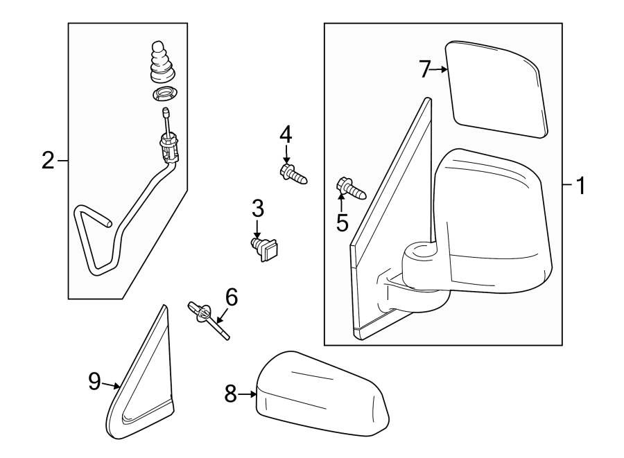 Ford Transit Connect Door Mirror (Rear). Power, OUTSIDE