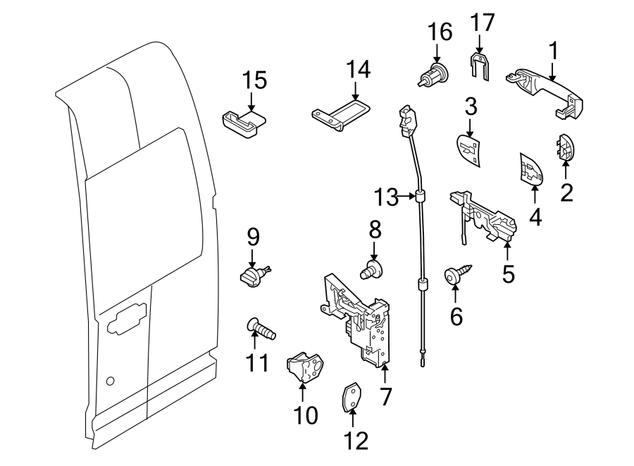 2013 Ford Transit Connect Striker. Screw. Door. DRIVER