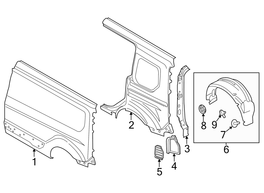 2012 Ford Fiesta End cap clip. Splash shield retainer clip