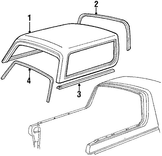 Ford Bronco Weatherstrip. REAR OVER BODY, side. Side. TOP