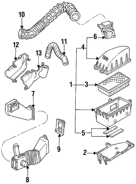 Ford Ranger Shroud. 2.3 LITER, 1993-94, outer. INTAKE