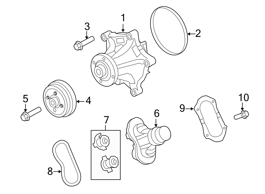 Ford F-450 Super Duty Engine Coolant Thermostat Gasket. 6