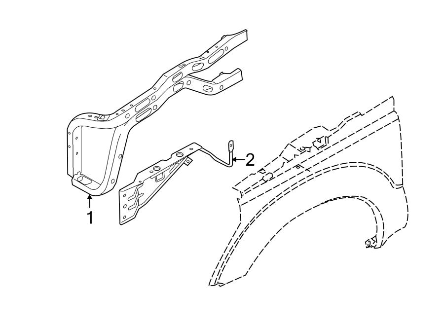 Ford F-250 Super Duty Fender Reinforcement Bar. INNER