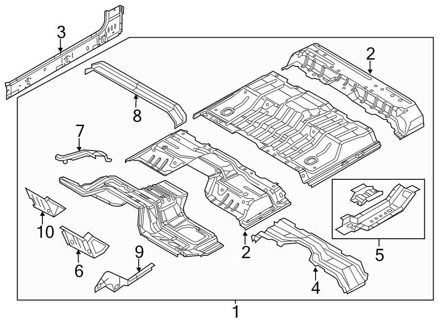 Ford F-250 Super Duty Floor Pan Crossmember (Front, Rear