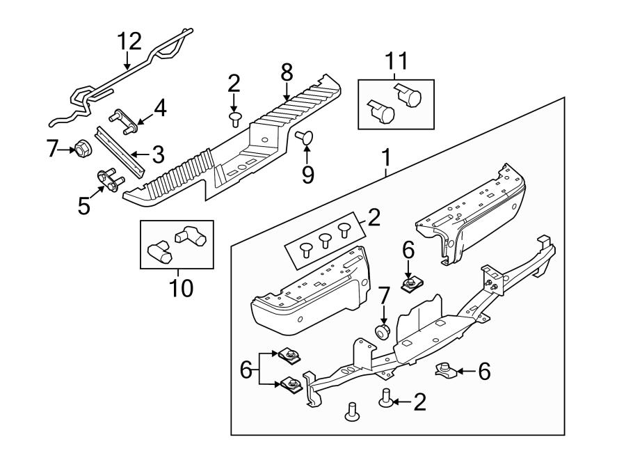 2015 Ford F-350 Super Duty Bumper Face Bar (Rear). Chrome