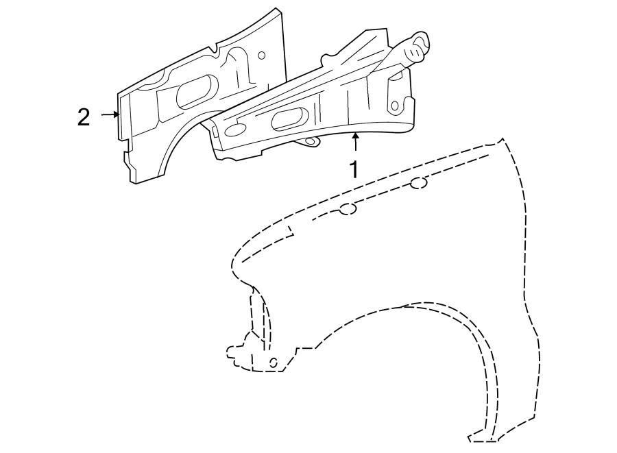 Ford F-250 Super Duty Fender Rail (Upper). Inner, Right