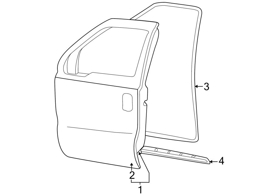 Ford F-250 Super Duty Door Seal (Front, Upper). Super cab