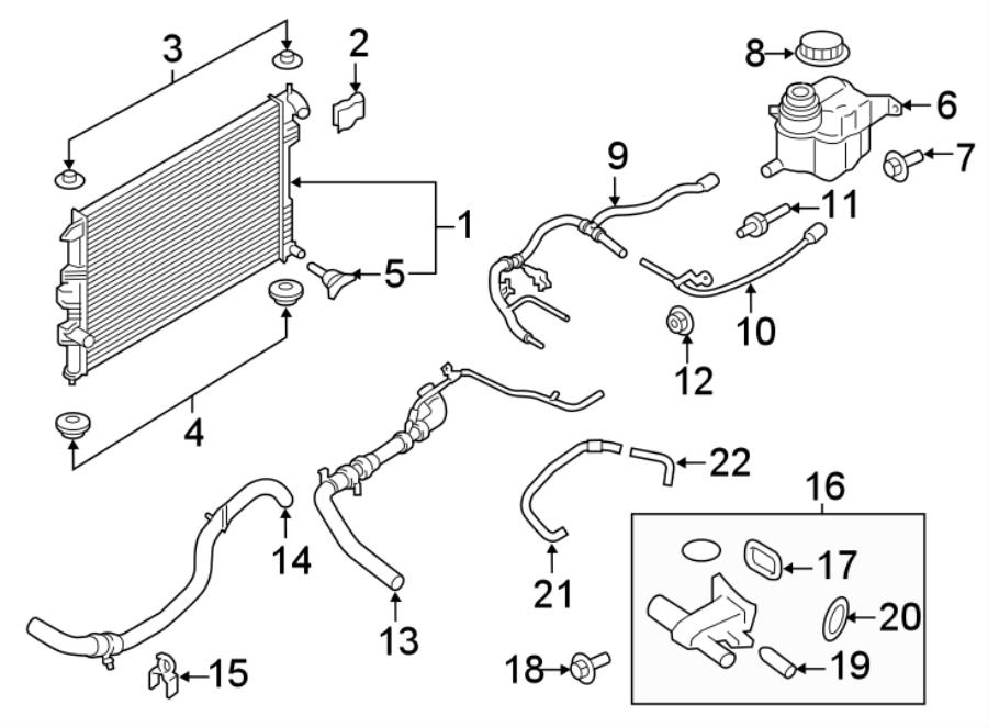 Ford Explorer Engine Coolant Overflow Hose Bolt. 2.3 LITER