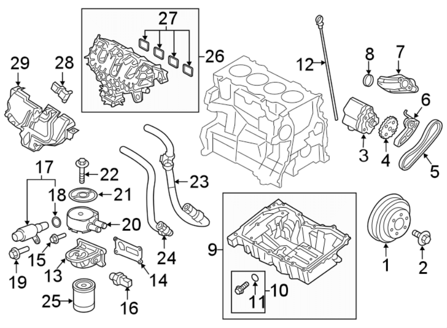 Ford Explorer Engine Coolant Hose. 2.3 LITER, to 11/29