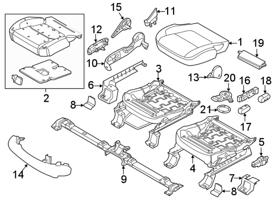 2016 Ford Explorer Seat Cushion Foam (Front). SEAT CUSHION