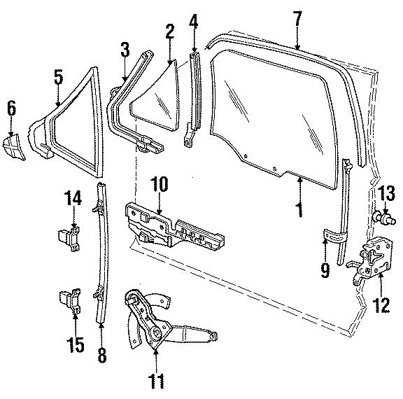 1985 Ford Bronco II Latch. Lock. Left, DOOR, GLASS