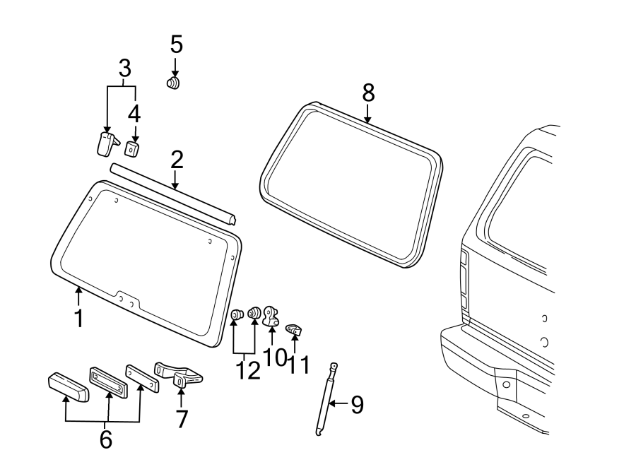 Ford Explorer Liftgate Glass Hinge. TO 3/04/02. Left, Rear