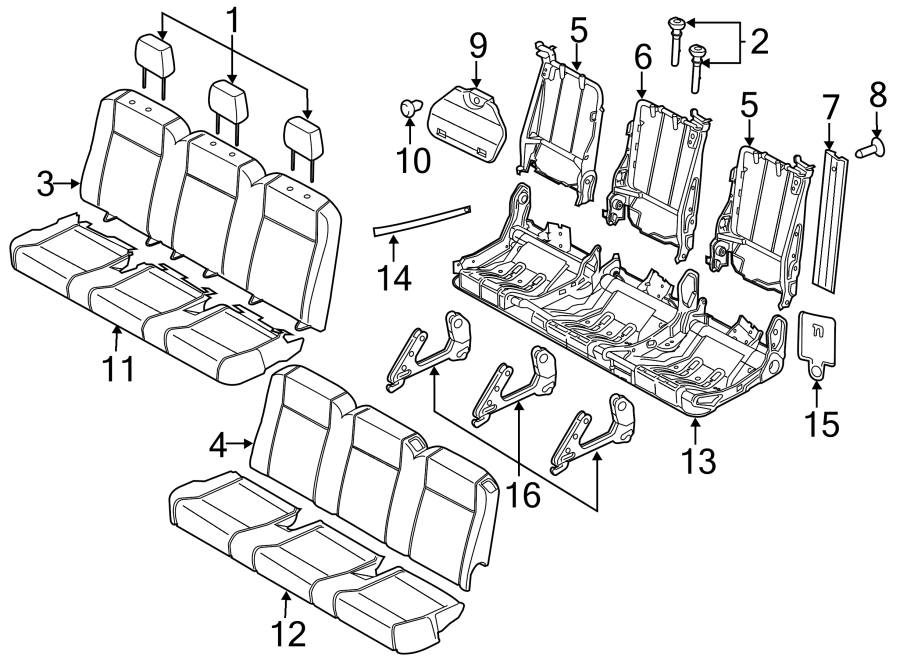 2015 Ford Transit-150 Head rest assembly. Seat, recliner
