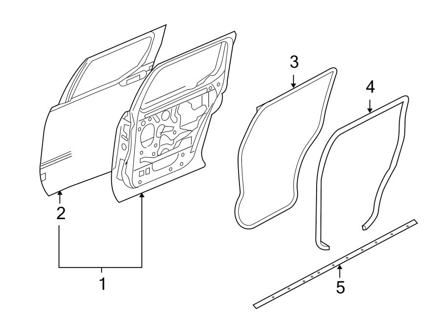 Ford Explorer Sport Trac Door Seal. Rear, Strip, Right