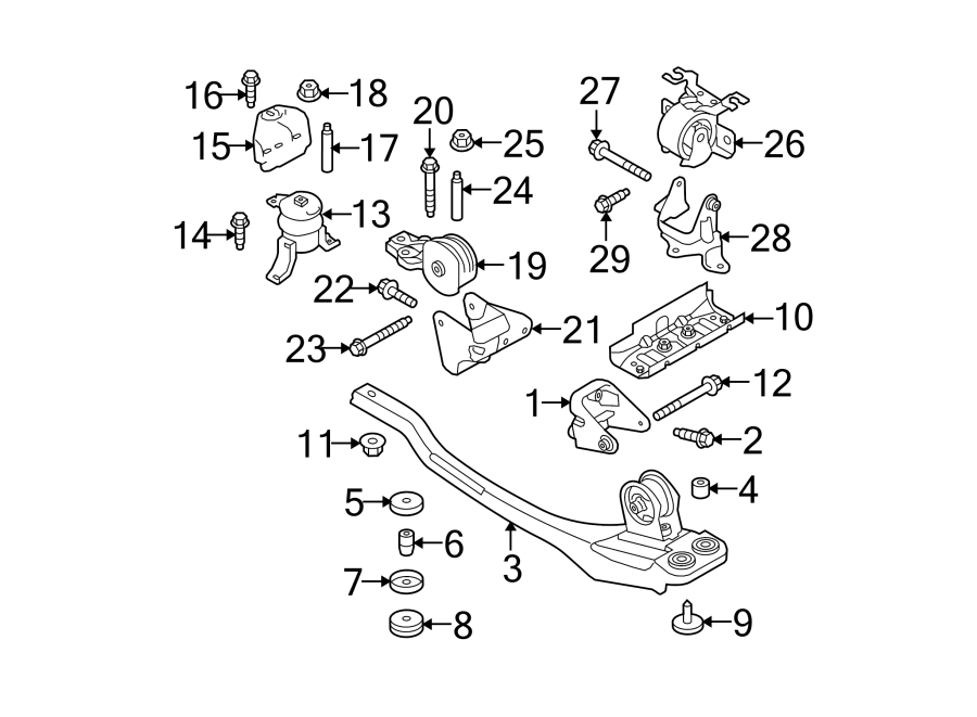 Ford Escape Engine Mount (Front, Rear). Trans, LITER