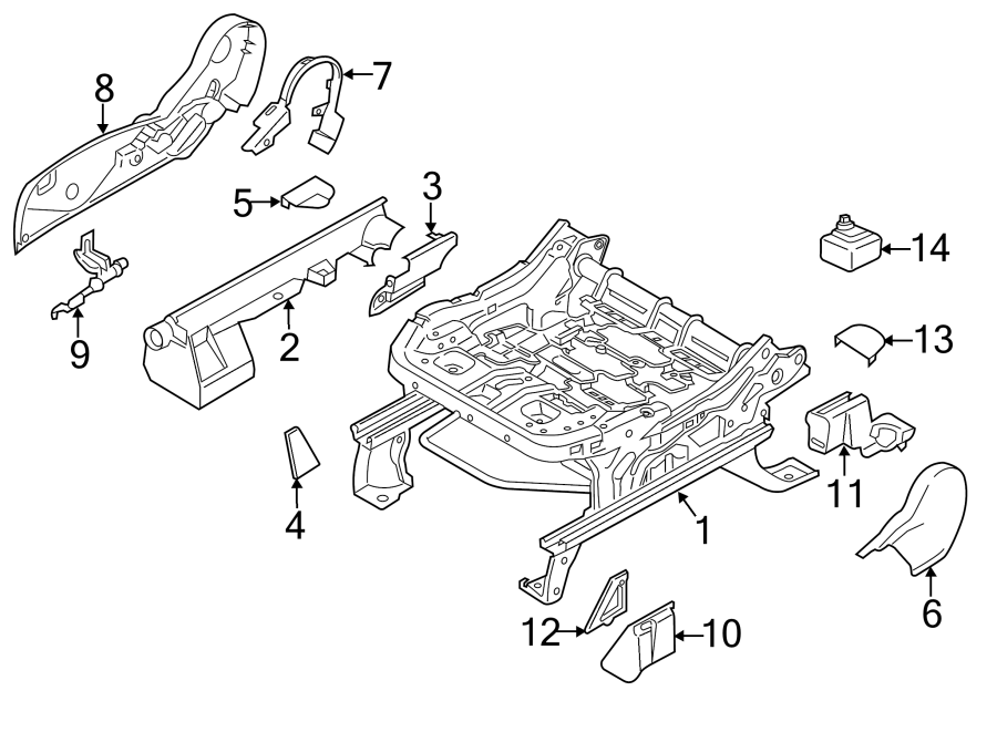 2013 Ford Escape Bracket. Seat. (Front, Lower). Passenger
