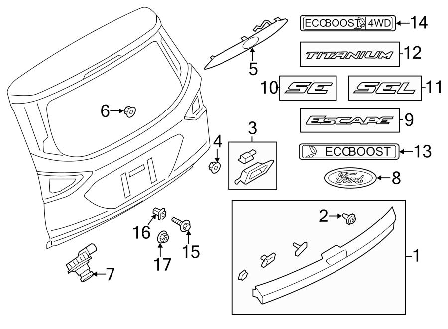 2015 Ford Escape Liftgate Finish Panel (Lower). 2013-16
