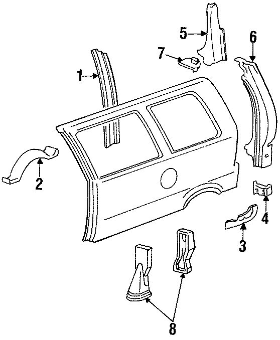 Ford Aerostar Panel support. LEFT SIDE, wagon, w/o super