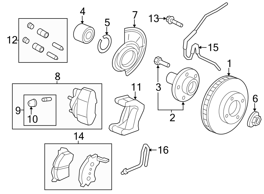 2011 Ford Escape Caliper. Kit. Mount. Pin, Brake, Guide