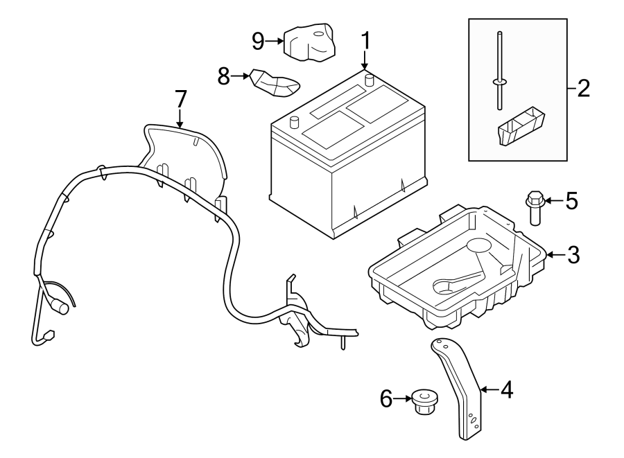 Ford Edge Battery Hold Down. Amp, CONVENTIONAL, Bracket